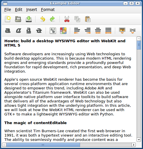How to build a desktop WYSIWYG editor with WebKit and HTML 5