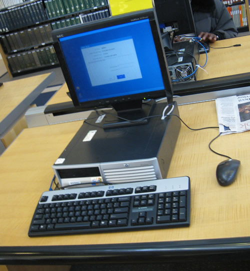 A rare moment when a San Francisco Public Library free Internet access terminal  is not in use.