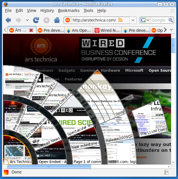 A screenshot of the TabViz Firefox extension