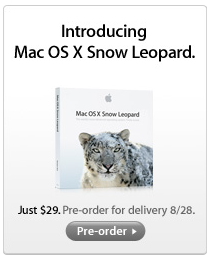 Snow Leopard now available from Apple Store, ships Aug. 28
