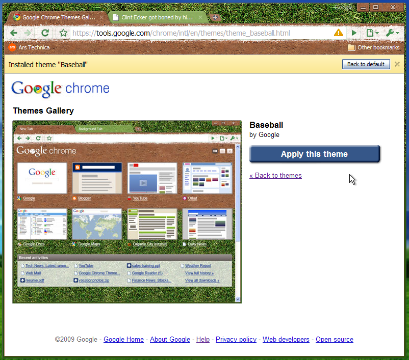 google chrome gets skins and javascript performance boost ars technica