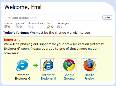 Google's Orkut starts phasing out support for IE6