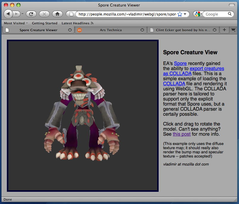 WebGL in Firefox nightly builds, demoed with 3D Spore model
