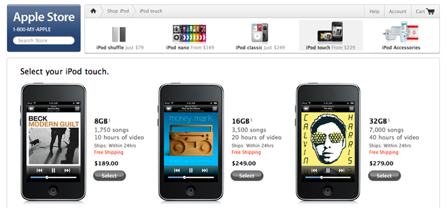 This is what the iPod section of Apple's online store looked like before it went down around 9:30am CT.