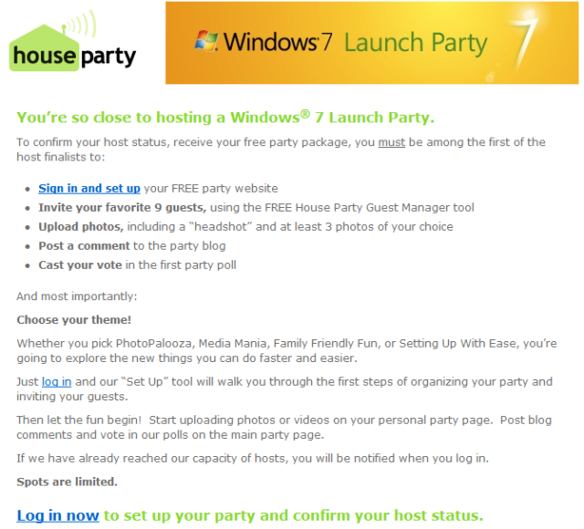 Windows 7 launch party finalist e-mails sent out
