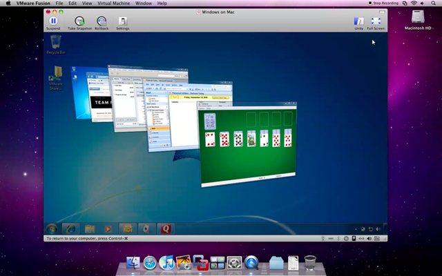 VMware Fusion 3.0 has support for Aero in Windows 7