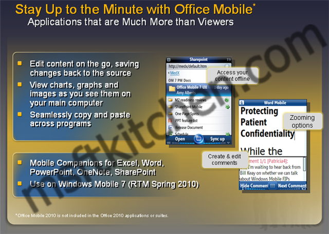 Windows Mobile 7 and Office Mobile 7 to RTM in Spring 2010?
