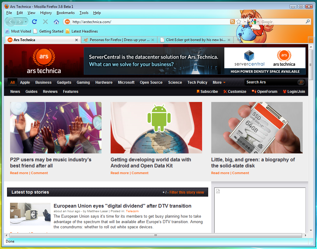 Hands on: Firefox 3.6 beta supports Personas, fullscreen video