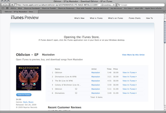 iTunes Preview: something to do while loading iTunes links