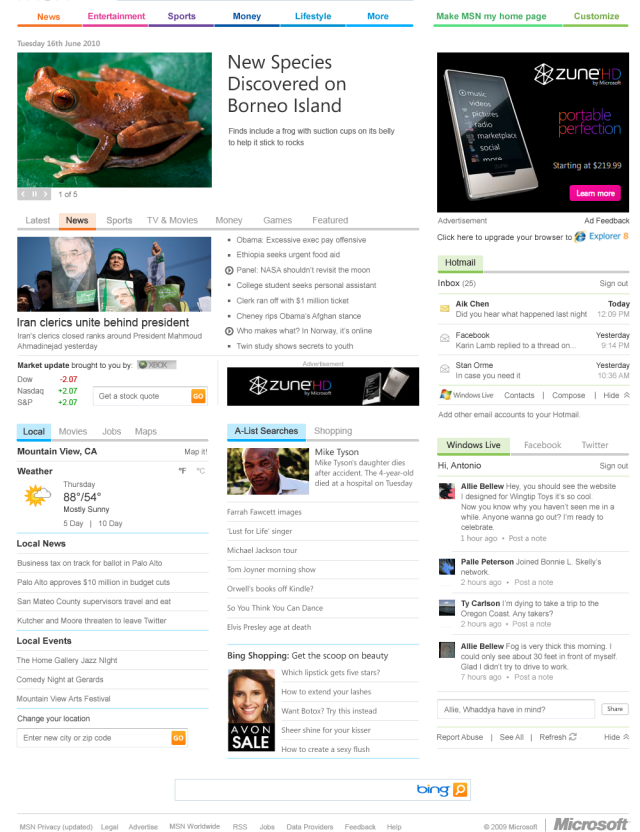 Microsoft cleans up MSN, integrates Facebook, Twitter