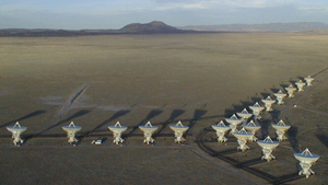 The Very Large Array radiotelescope.