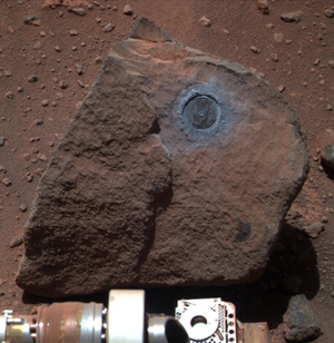 The Marquette Island rock, after Opportunity ground through its surface.