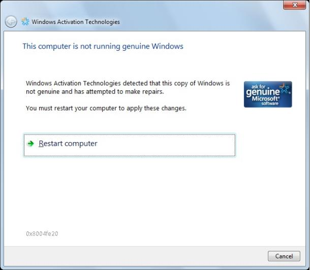 Windows 7 Validation 02y23C