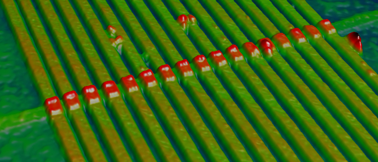 Atomic force microscopy images of an array of 17 memristors.