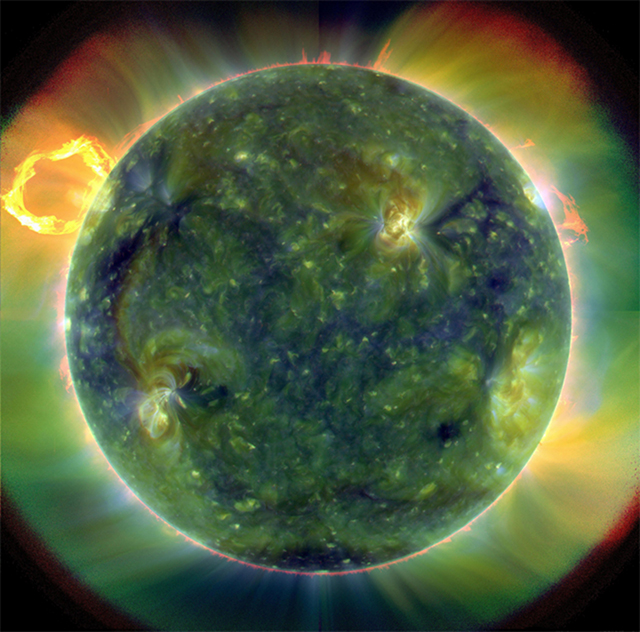 First light: A full-disk multiwavelength extreme ultraviolet image of the sun taken by SDO on March 30, 2010. False colors trace different gas temperatures.