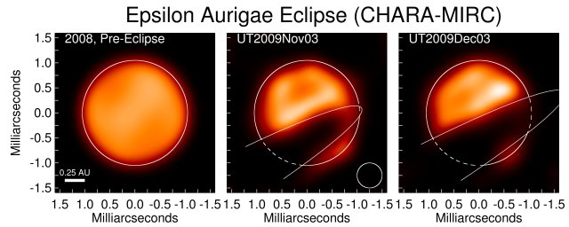 Reconstructed images showing the progression of the 2009-2010 eclipse of epsilon Aurigae