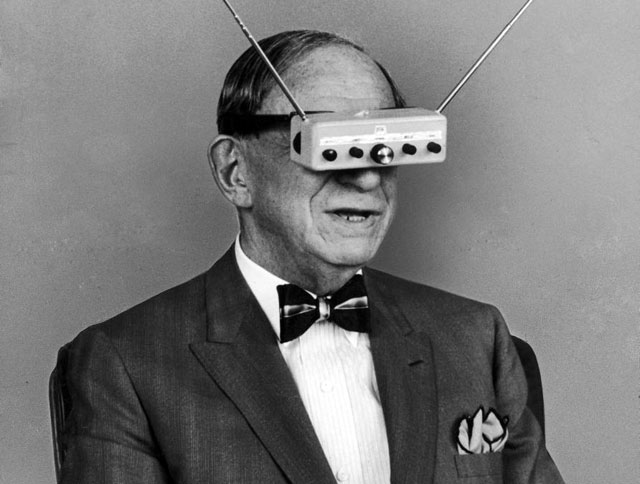 Hugo Gernsback wearing his TV Glasses in 1963 Life magazine shoot.