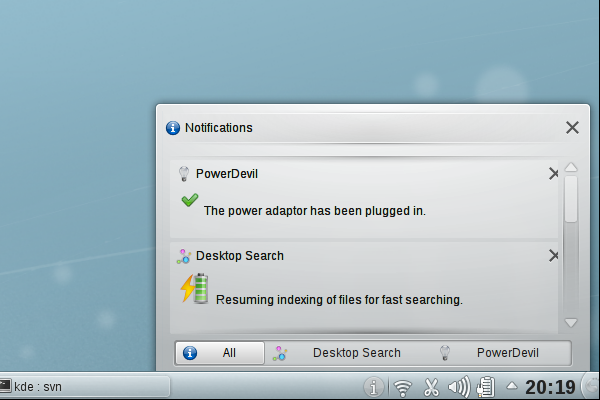 KDE Plasma has a revamped notification area