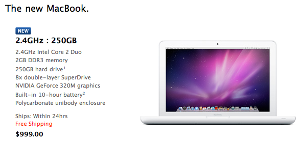 As expected, MacBook gets bumped to NVIDIA 320M, 2.4GHz