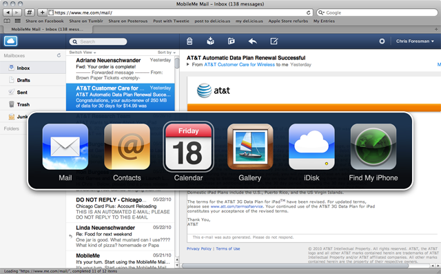 MobileMe Mail updated, Find My iPhone becomes an iOS app