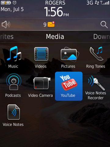 BlackBerry 6 will include a new YouTube app among its multimedia capabilities.