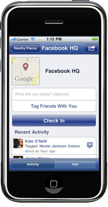 Facebook adds geolocation, check-ins to iPhone and Web apps