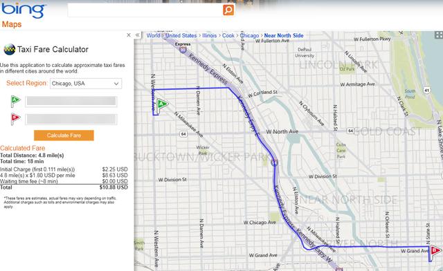 Bing Maps gets taxi fare calculator