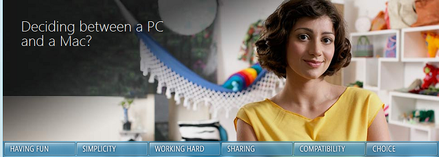 Microsoft keeps Mac vs. PC battle going on Windows 7 website