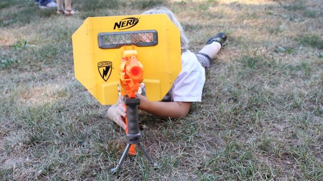 Nerf N-Strike STAMPEDE ECS Dart Gun + Bipod Shield Ammo Clips Darts