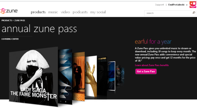 Microsoft offers annual Zune Pass option for $150