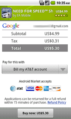 Android Market carrier billing comes to AT&T
