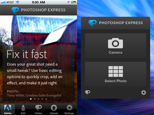 On left, the old Photoshop Express launch page. On the right, the new launch