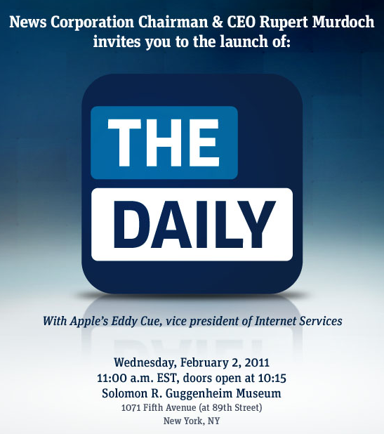 News Corp. and Apple finally ready to intro The Daily next week