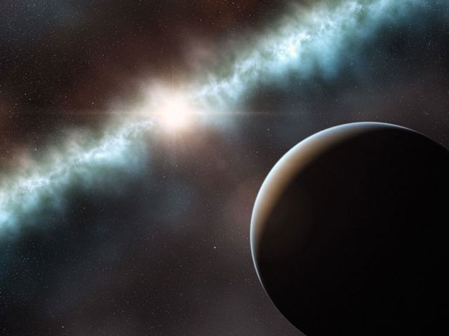 An artist's rendition of the large object in the disk around the star T Cha