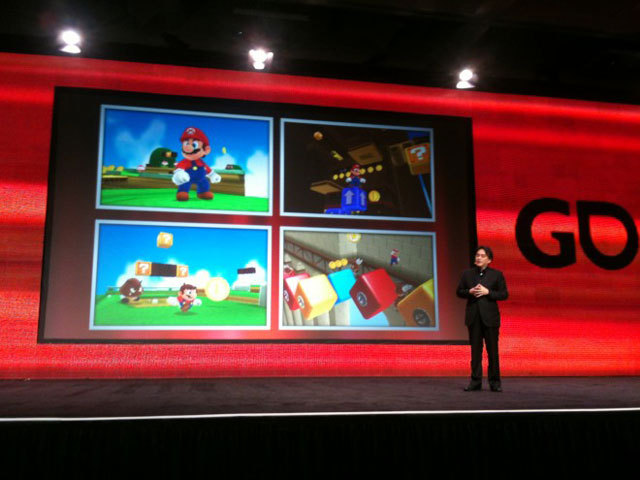 Nintendo president Satoru Iwata shows the first screenshots of a new Super Mario game for Nintendo 3DS at his Game Developers Conference 2011 keynote