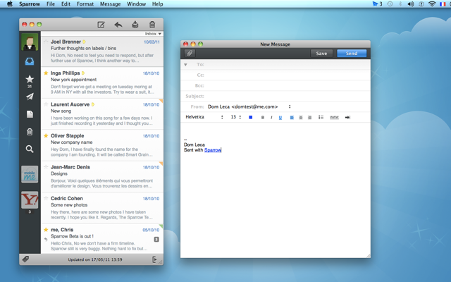 Sparrow for Mac finally gets general IMAP support, multitouch