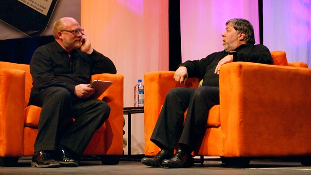 ACU director of educational innovation Dr Bill Rankin discusses technology in the classroom with Apple co-founder and Fusion IO chief scientist Steve Wozniak at ACU's Connected Summit 2011.