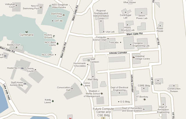 The entire IIT Bombay campus was added by individual users via Map Maker.