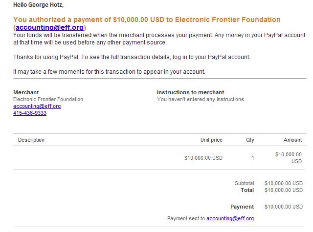 PS3 hacker George Hotz donates $10,000 to EFF, mocks Sony