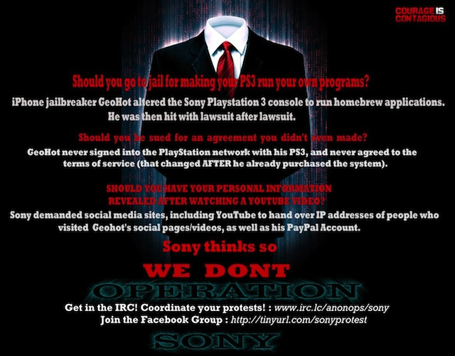 """Anonymous"""" attacks Sony to protest PS3 hacker lawsuit 