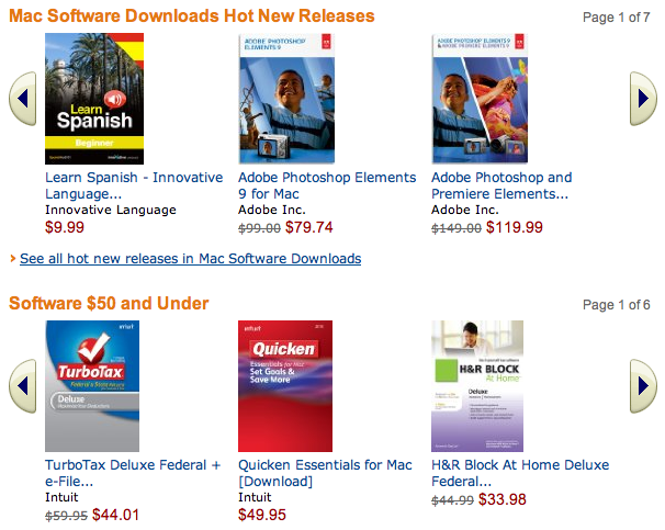 Amazon now offers its own selection of software downloads for Mac OS X, including titles from Microsoft and Adobe.