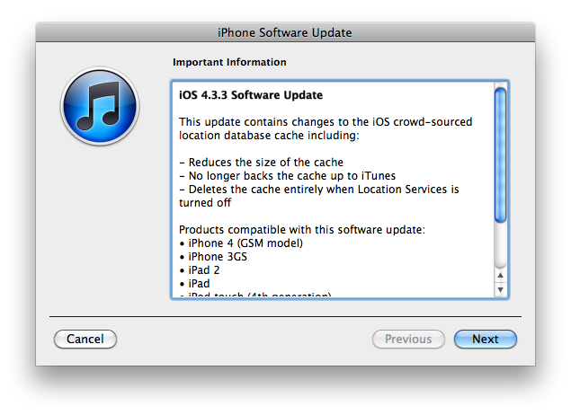iOS 4.3.3 is out with location tracking fixes for iPhone, iPad