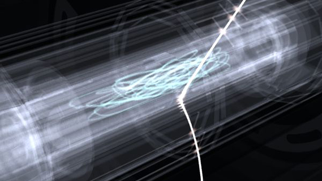 Artist's rendition of a cloud of trapped antihydrogen atoms. After wandering its trap, an antihydrogen atom is released to annihilate on the trap wall, creating signals that can be tracked by a nearby detector.