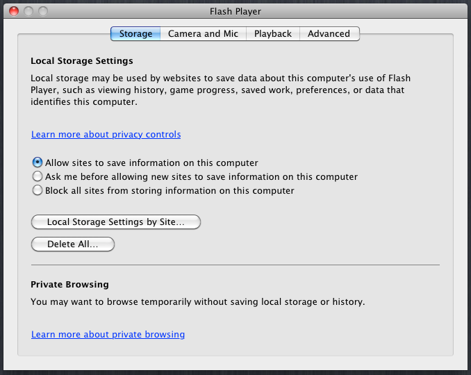 The interface for managing Flash cookies in Chrome 12
