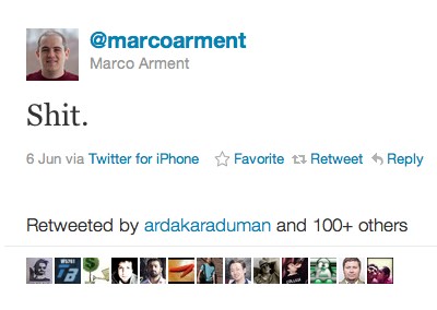 Tweet from Marco Arment, developer of Instapaper