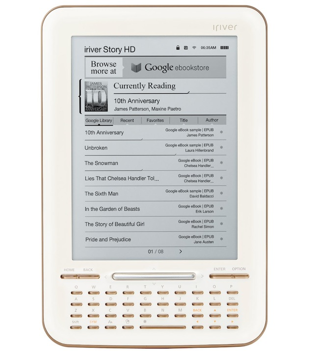 $140 Google eBooks reader, iriver Story HD, hits stores July