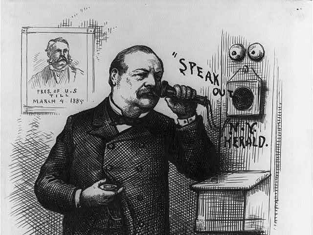 A New York Herald graphic of President Grover Cleveland answering the telephone.