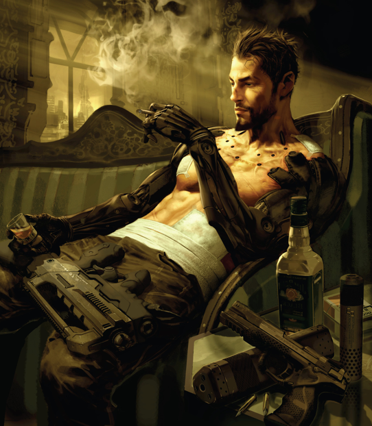 Adam Jensen relaxes at home