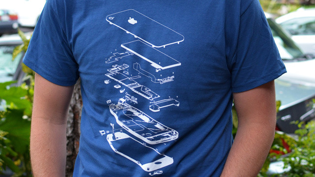 iFixit's exploded iPhone 4 t-shirt.
