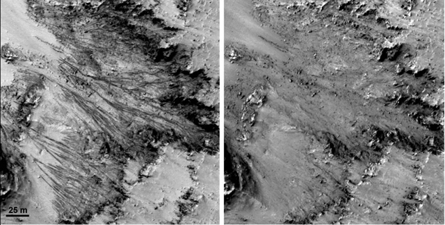 Some slopes on Mars darken in the summer (left), but return to a lighter color by the following spring.
